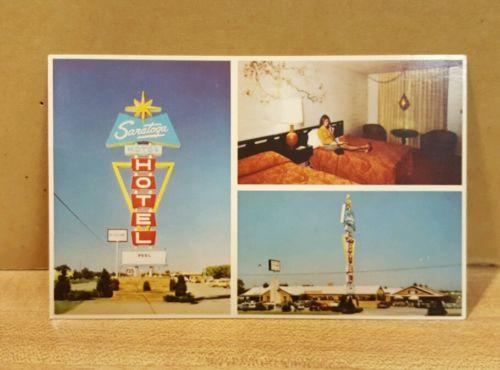 Vintage Postcard ~Along Route 66 the Saratoga Motor Hotel ~ Tulsa Oklahoma