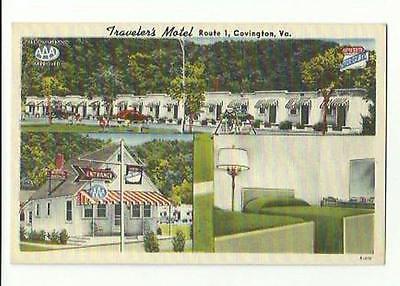 Old Postcard Traveler's Motel Route 1 Covington VA AAA Alleghenys John Mann