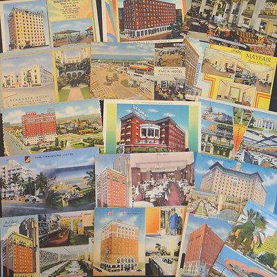 16-Hotel-Assorted U.S.-Vintage Linen Postcard Lot