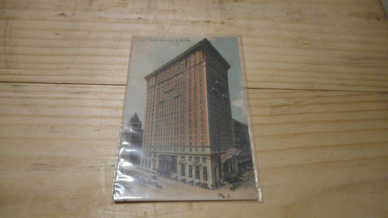 HOTEL  BELMONT NEW YORK CITY  POSTCARD 1907  EARLY MID 1900S JUDSON