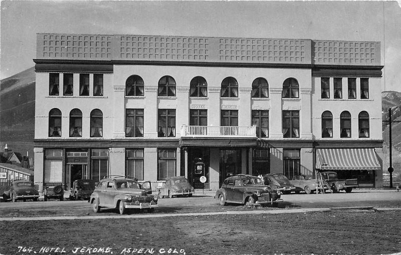 Aspen Colorado Autos 1940s Hotel Jerome RPPC real photo postcard 12506