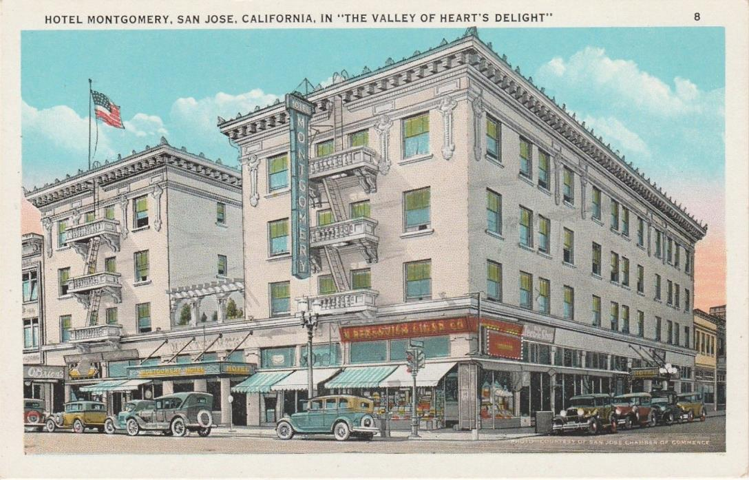 ca 1922 Tichnor Bros view of early cars by Hotel Montgomery, San Jose California