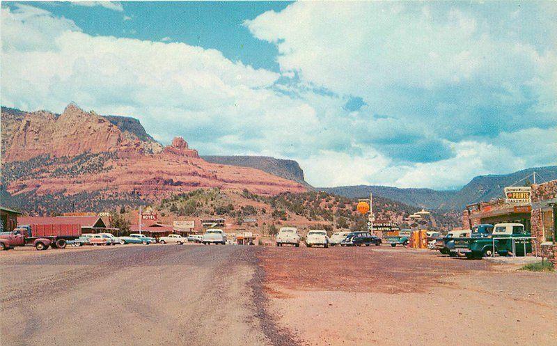 Autos 1950s Shell gas station Sedona Arizona Petley Truck Motel postcard 12566