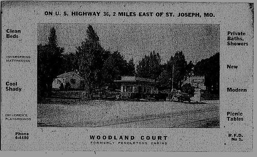 Postcard, Woodland Court Cabins & Gas Station, US 36, St. Joseph, MO