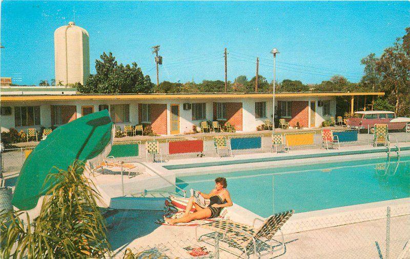 Beckett Motel Ann Swimming Pool roadside Clearwater Florida postcard 12565