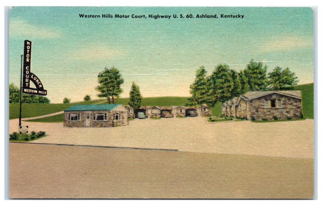 1953 Western Hills Motor Court, US Highway 60, Ashland, KY Postcard