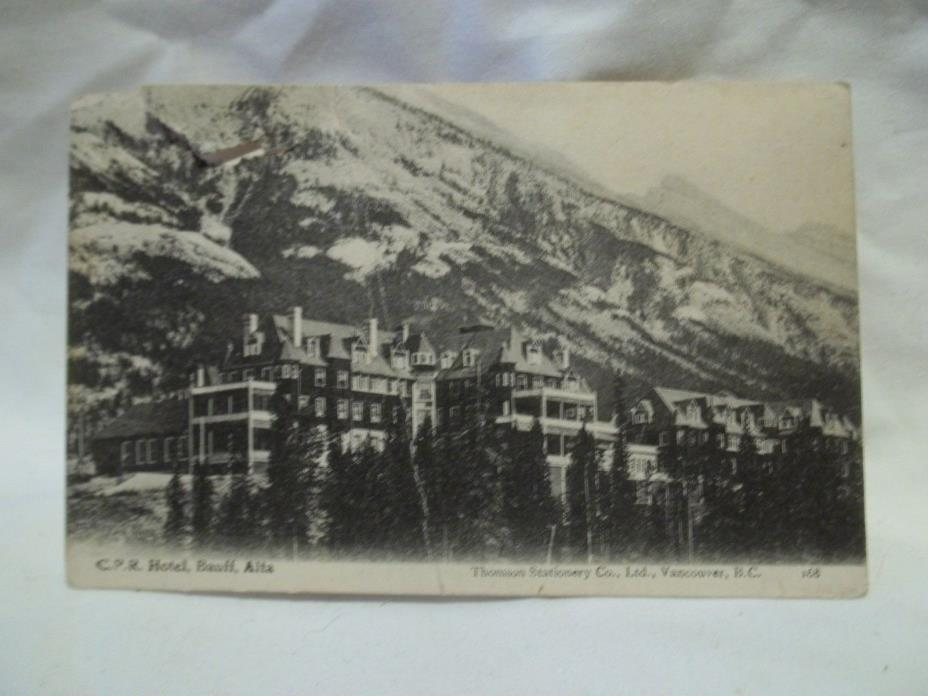 p07] Antique Postcard   CPR  hotel, banff  ALTA