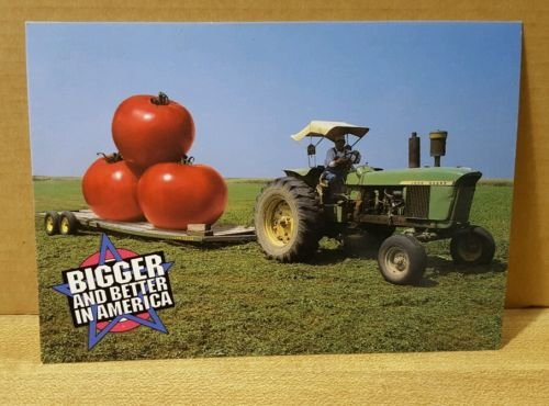 New Postcard ~ Bigger and Better in America  (Tomato)