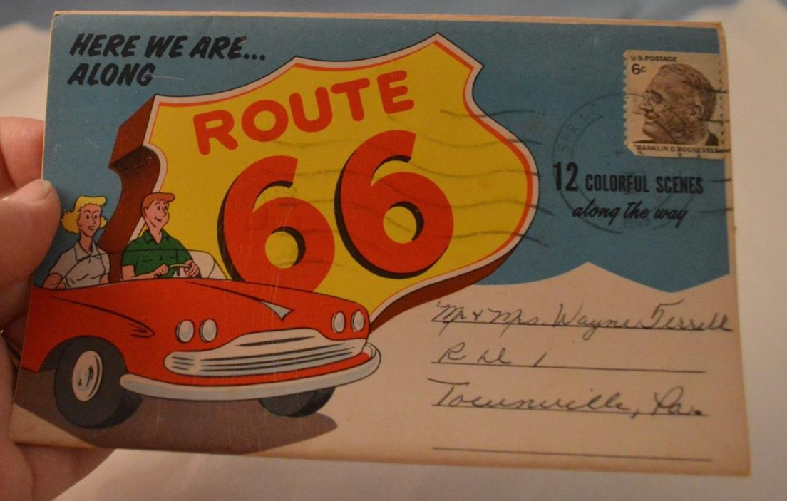 Here We Are Along Route 66  12 Multi View Foldout Post Card Posted 1968