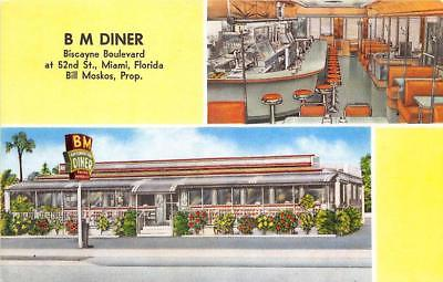 Miami FL B M Diner Inside & Outside Views Postcard