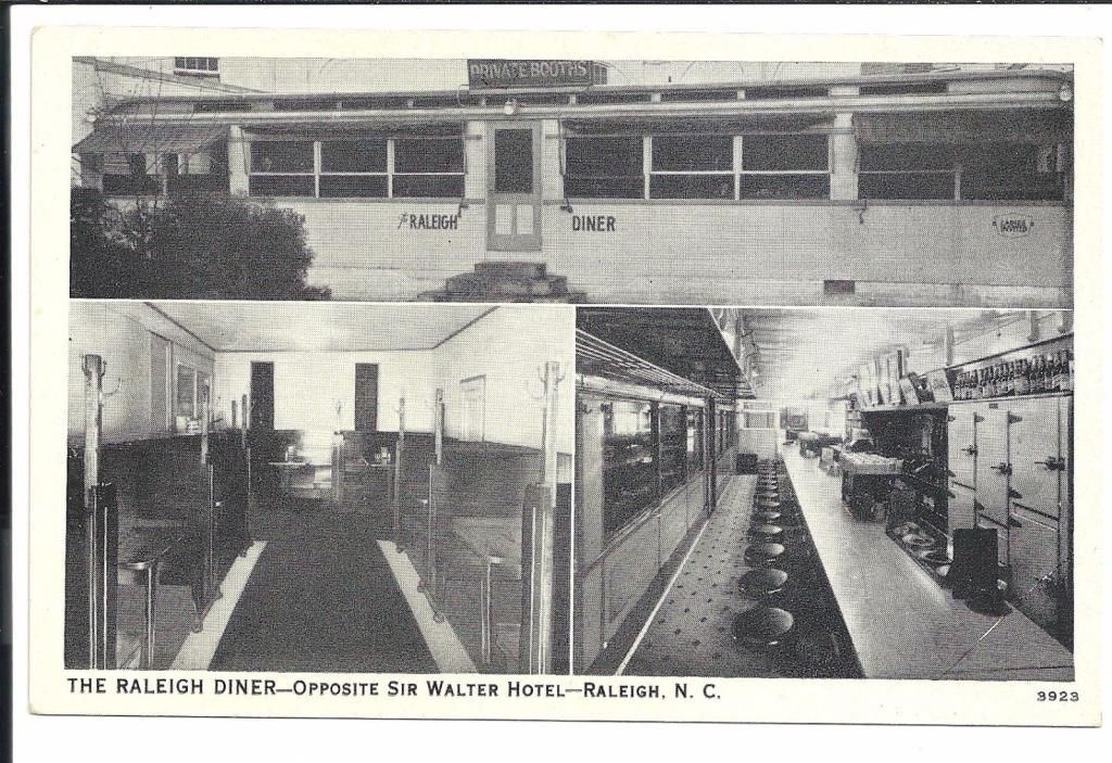 Raliegh Diner Interior Exterior NC Vintage Original Postcard
