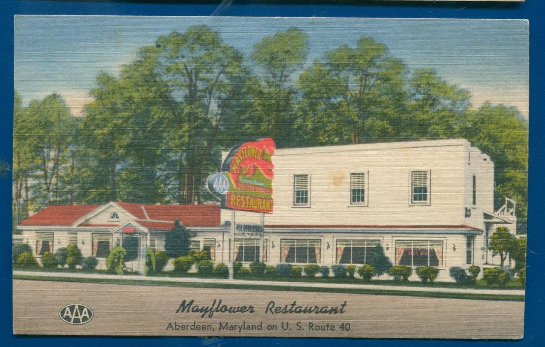Mayflower Restaurant on Route 40 Aberdeen Maryland md roadside linen postcard