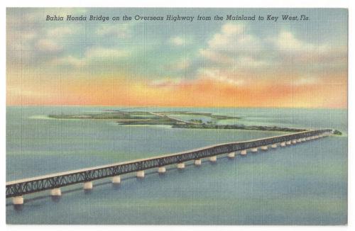 S20 VINTAGE LINEN POSTCARD BAHIA HONDA BRIDGE US 1 OVERSEAS HIGHWAY KEY WEST FL