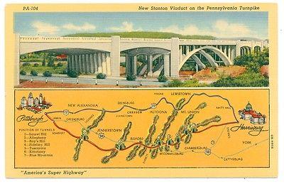 Pennsylvania Turnpike Vintage Linen Postcard New Stanton Viaduct MAP