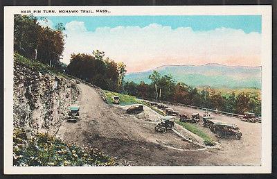 Hair Pin Turn Mohawk Trail MA White Border Postcard Vintage Autos Mountain Road
