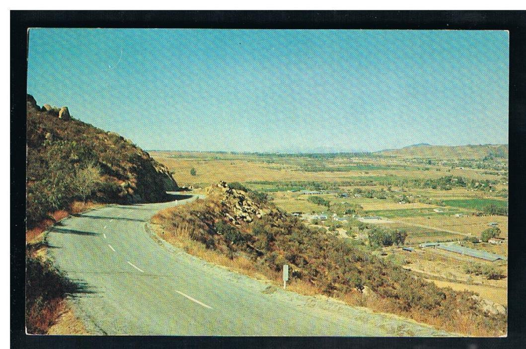 c.1963 Porter view of Beaumont from the Banning to Idyllwild Highway, SR243, CA