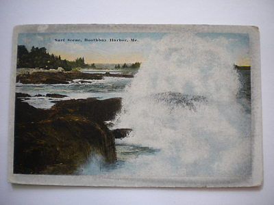 Postcard Surf Scene Boothbay Harbor Maine Postmark 1916