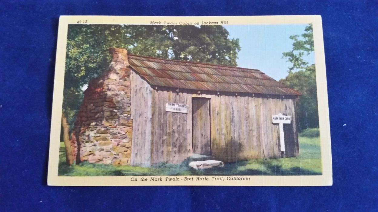 MARK TWAIN CABIN ON JACKASS HILL VINTAGE COLORED POSTCARDS.