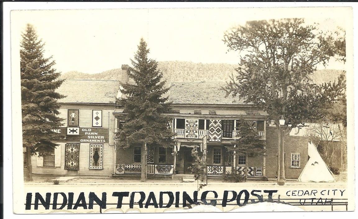 Navajo Indian Trading Post Cedar City Utah Vintage Original Postcard