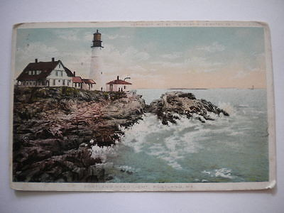 Postcard Portland Head Lighthouse Portland Maine Postmark 1912