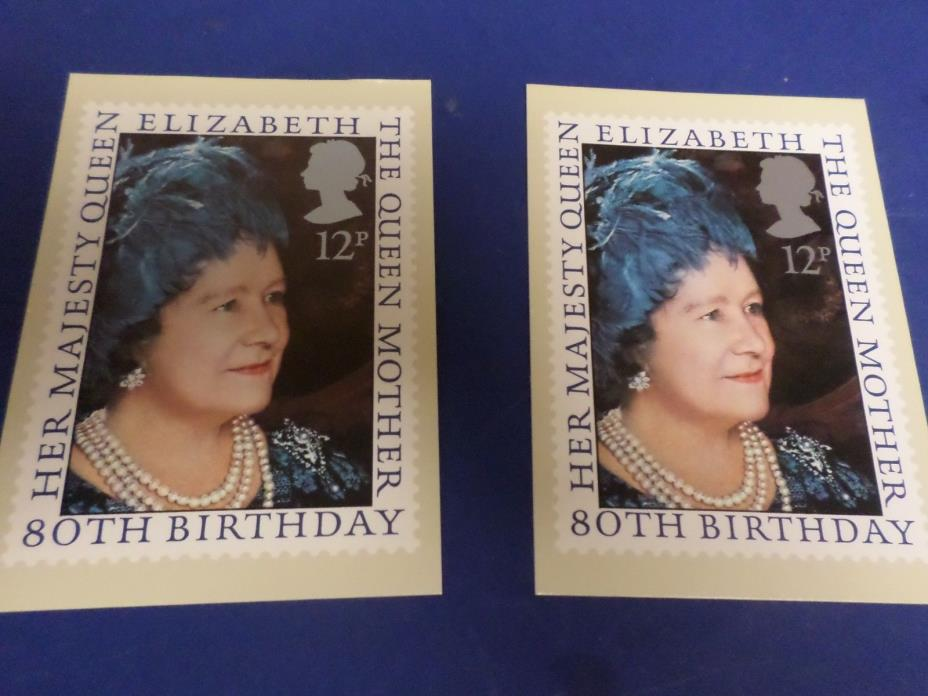 TW0 1980 THE QUEEN MOTHER Her Majesty Queen Elizabeth 80th Birthday .4 X 6 INCH