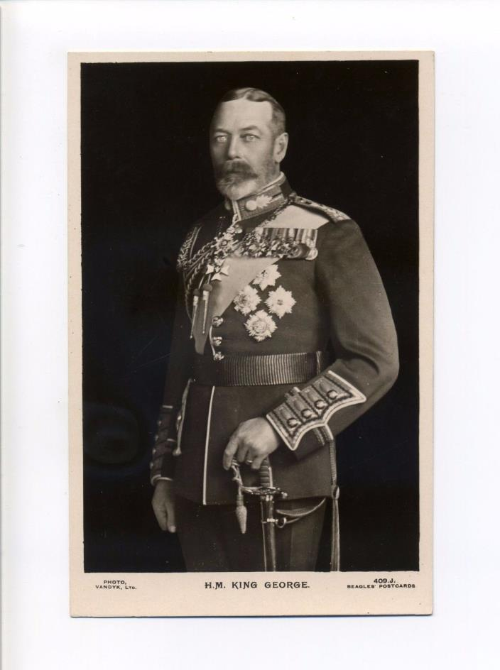 British Royalty RPPC real photo King George V, Uniform, Beagles antique postcard