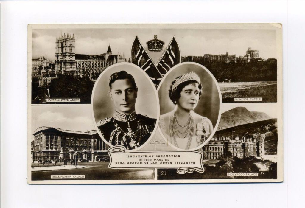 British Royalty RPPC real photo King George VI, Queen Elizabeth, Coronation