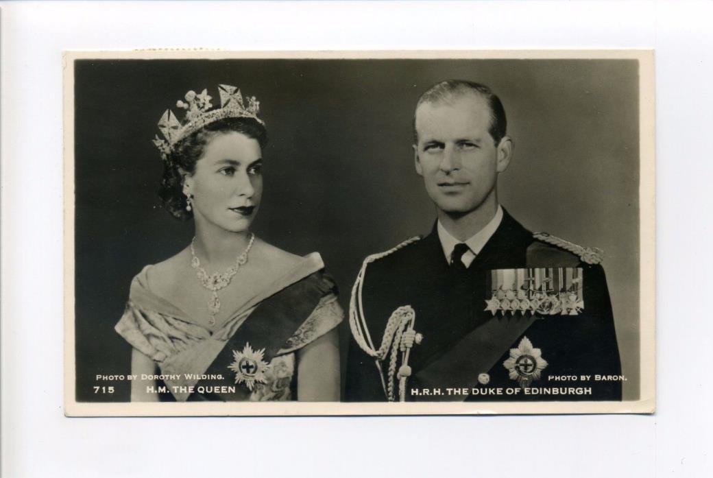 British Royalty RPPC real photo, Queen Elizabeth, Prince Philip, 1953 postcard