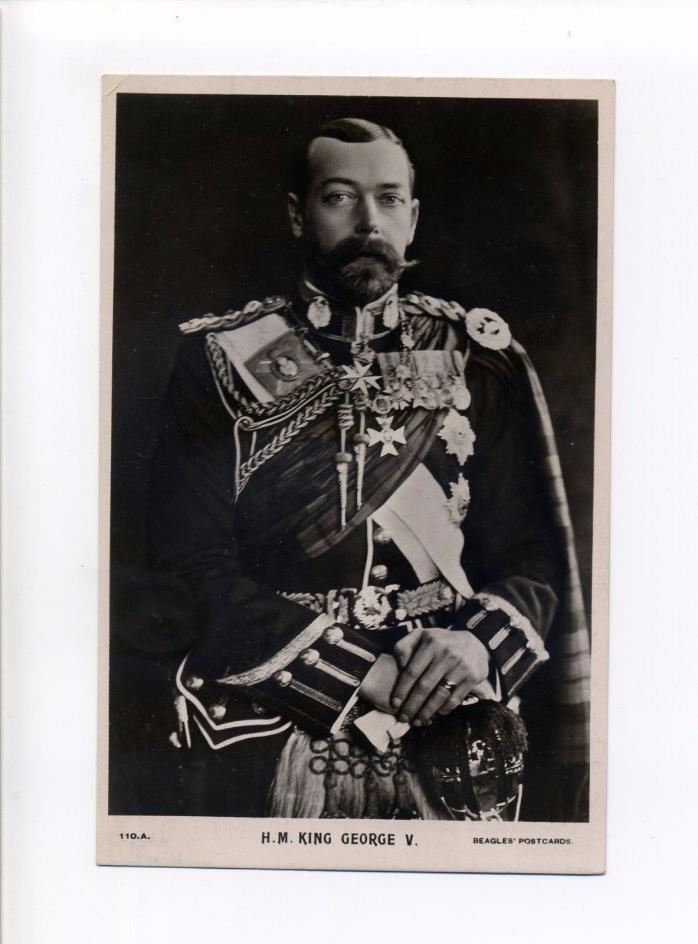 British Royalty King George V, Uniform, Beagles antique postcard