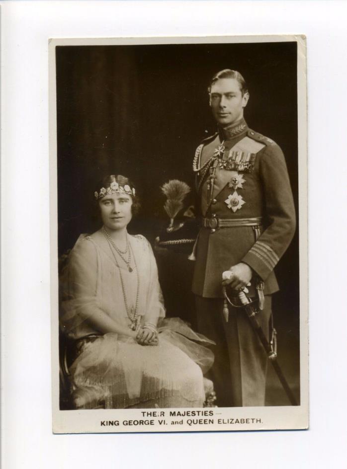 British Royalty RPPC real photo King George VI in uniform, Queen Elizabeth, 1937
