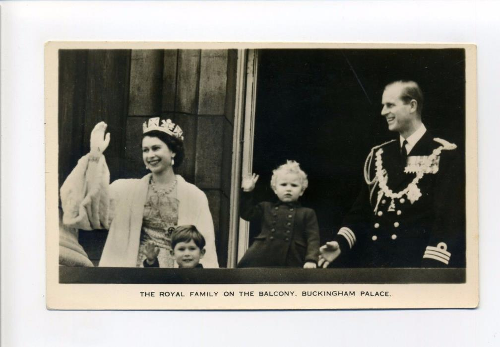 British Royalty RPPC real photo, Queen Elizabeth, Prince Philip, Charles, Anne