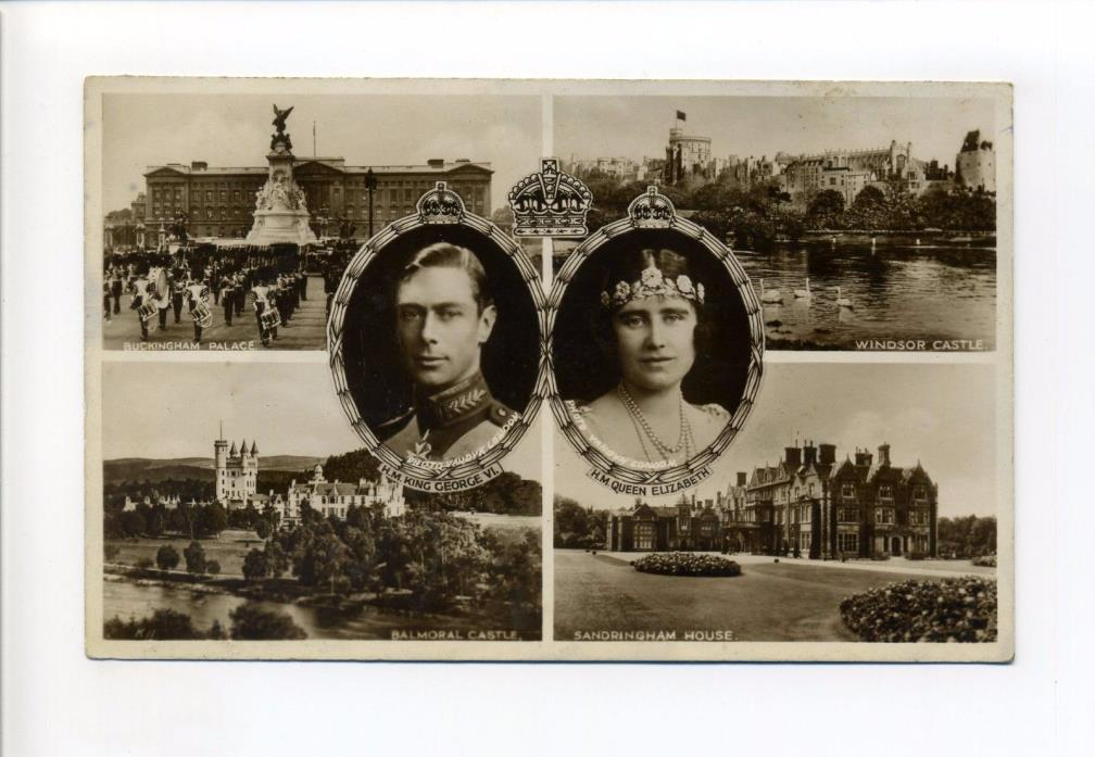 British Royalty RPPC real photo King George VI, Queen Elizabeth, residences