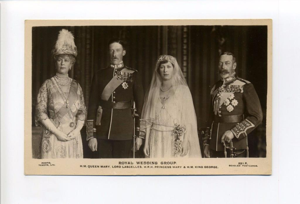 British Royalty RPPC real photo Princess Mary, King George V, Queen Mary Wedding