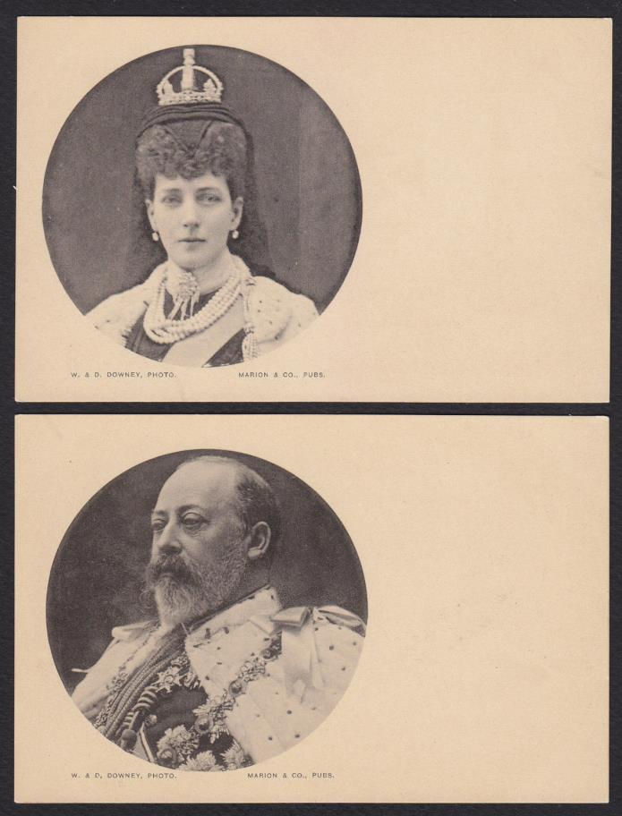 2-Royalty-Queen Alexander-King Edward VII-Nice-Antique Postcard Lot