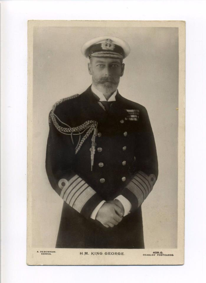 British Royalty RPPC real photo King George V, Navy, Beagles antique postcard