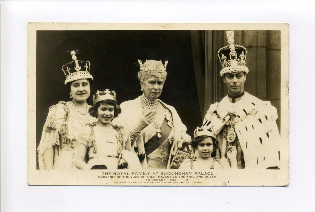 British Royalty RPPC real photo King George VI, crown, family, Buckingham Palace
