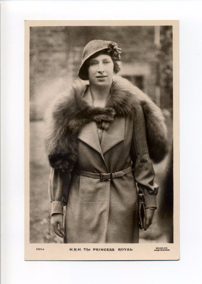 British Royalty RPPC real photo The Princess (Mary) Royal, fur coat, beagles