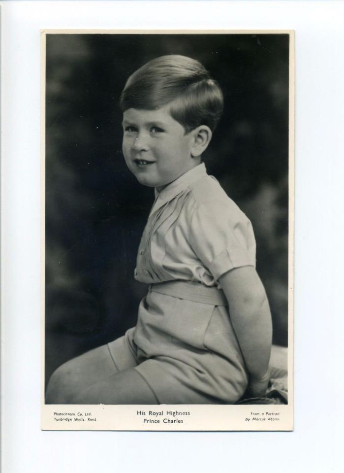 British Royalty Prince Charles, shy smile, 1950's, RPPC?
