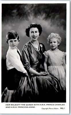 Queen Elizabeth II RPPC Real Photo Postcard Prince Charles Princess Anne c1950s