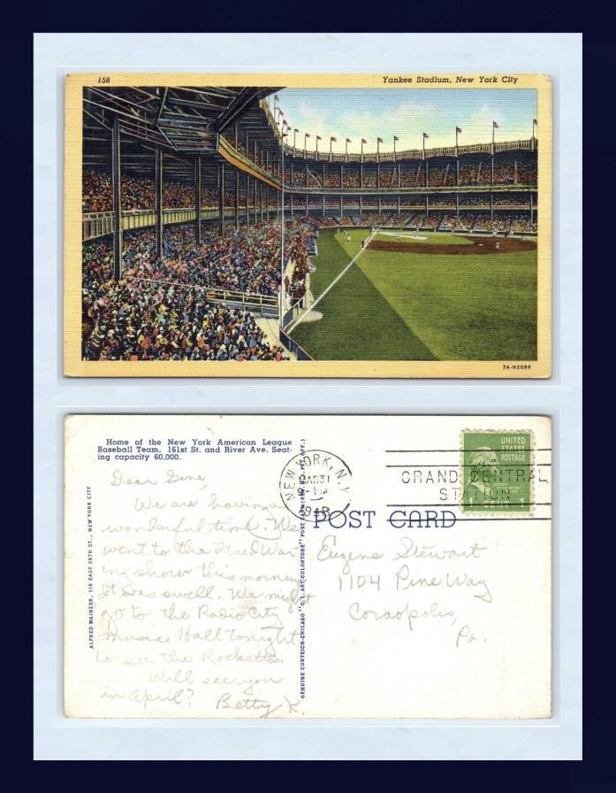 BASEBALL NEW YORK YANKEE STADIUM 31 MAR 1948 TO EUGENE STEWART, CORAOPOLIS, PA