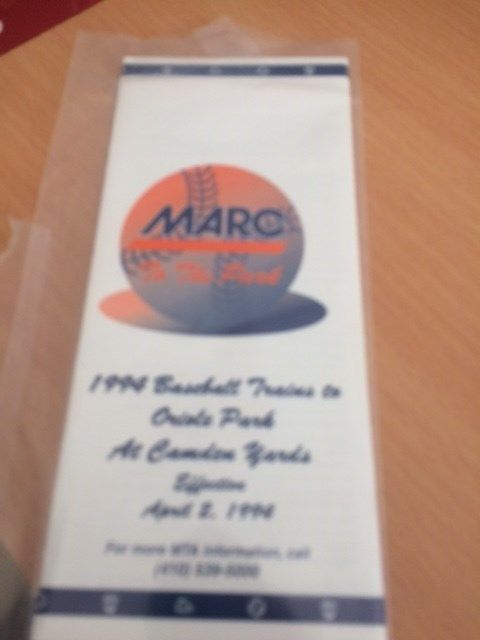 marc maryland 1994 orioles stadium train schedule 1994- train to the game