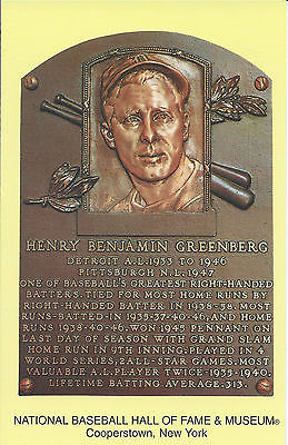 HANK GREENBERG -Baseball Hall of Fame- INDUCTION Plaque Postcard- TIGERS
