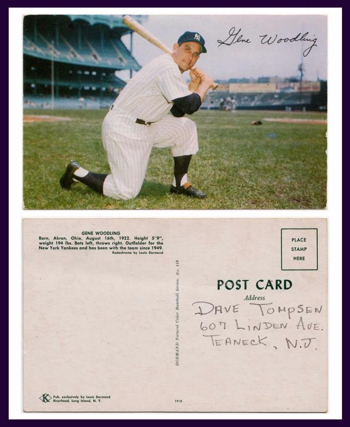 SPORTS BASEBALL NEW YORK YANKEE STADIUM AND YANKEE OUTFIELDER GENE WOODLING
