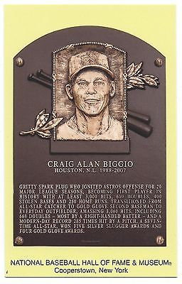 CRAIG BIGGIO -Baseball Hall of Fame- INDUCTION Plaque Postcard- 2015-COOPERSTOWN