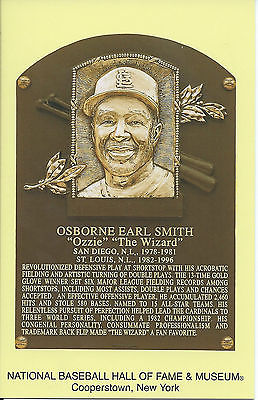 OZZIE SMITH -Baseball Hall of Fame- INDUCTION Plaque Postcard- CARDINALS