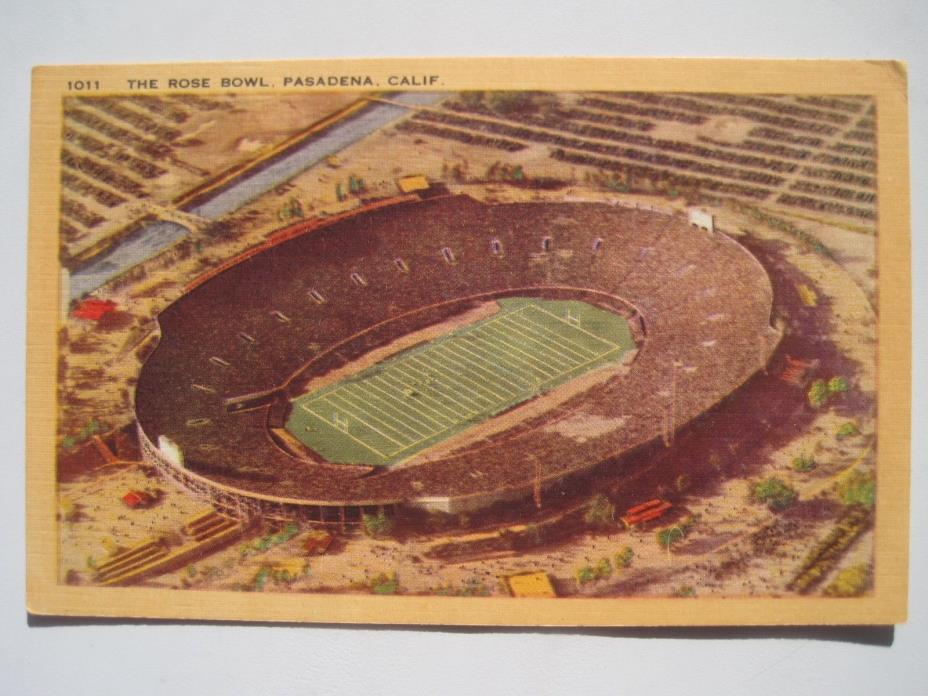 Pasadena CA Rose Bowl Football Stadium Vintage Linen Postcard