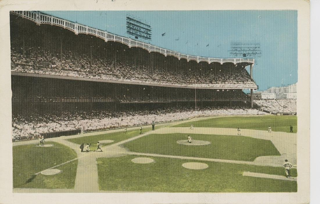 1958 NEW YORK YANKEE STADIUM World Series Baseball Color Chrome Postcard  EX