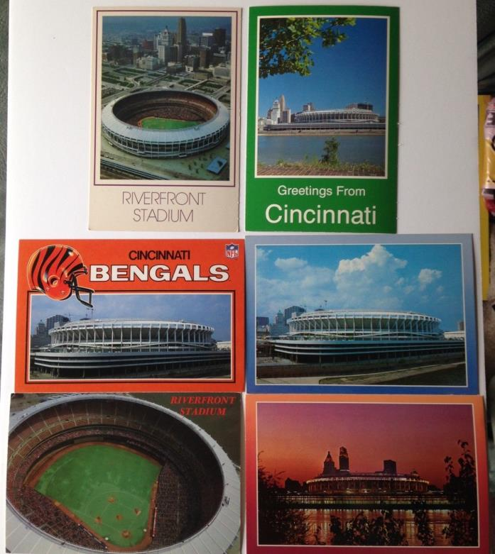 6 Vintage Cincinnati Riverfront Stadium Postcards Home of MLB Reds & NFL Bengals