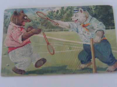 1909 TUCK EMBOSSED POSTCARD DRESSED BEARS PLAYING TENNIS GAME