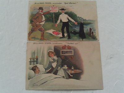 2 COMIC POSTCARDS 1906 RAPHAEL TUCK ARTIST SIGNED PVB POOL BILLIARDS TERMS